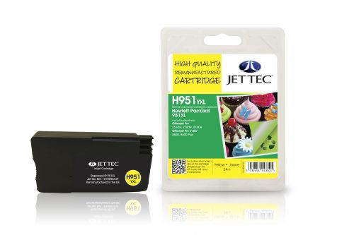 JET TEC Remanufactured Inkjet Cartridge Replaces HP 951XL HP CN048AE Yellow
