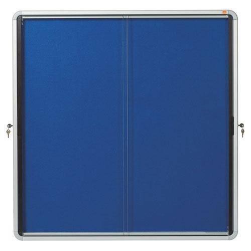 Nobo 1902566 Premium Plus Blue Felt Lockable Notice Board 12xA4