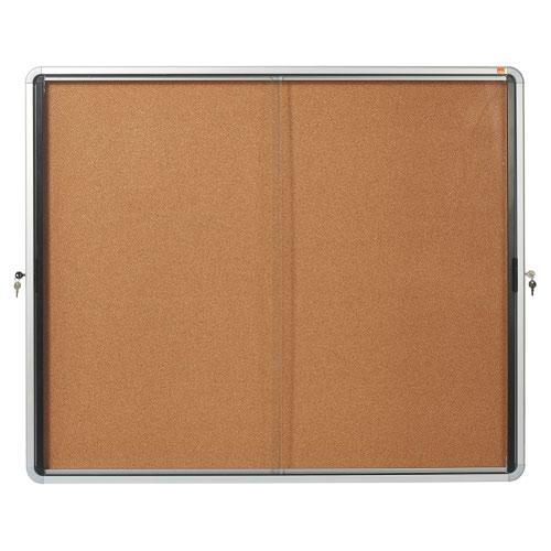 Nobo 1902607 Internal Glazed Case 15 x A4 Cork Sliding Door
