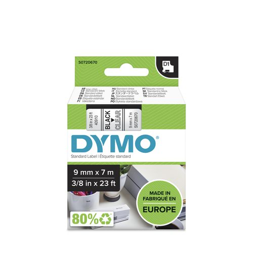 Dymo 40910 D1 9mm x 7m Black on Clear Tape