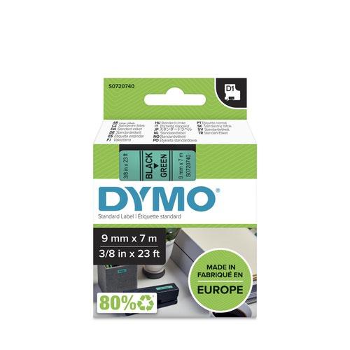 Dymo 40919 D1 9mm x 7m Black on Green Tape