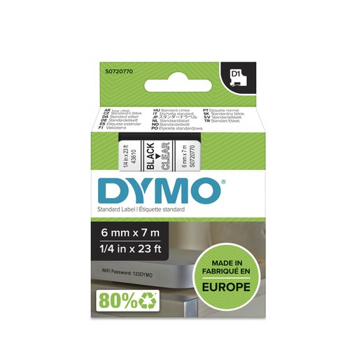 Dymo 43610 D1 6mm x 7m Black on Clear Tape
