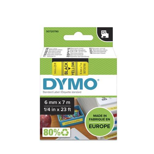 Dymo 43618 D1 6mm x7m Black on Yellow Tape