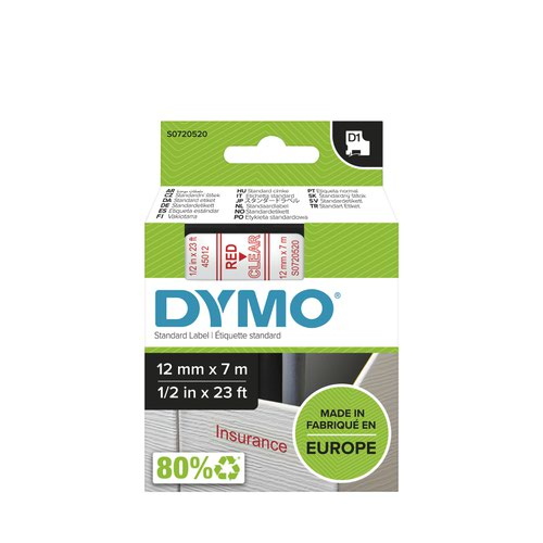 Dymo 45012 D1 12mm x 7m Red on Clear Tape