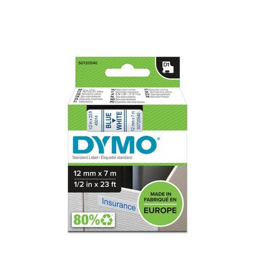 Dymo 45014 D1 12mm x 7m Blue on White Tape