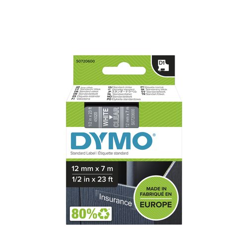 Dymo 45020 D1 12mm x 7m White on Clear Tape