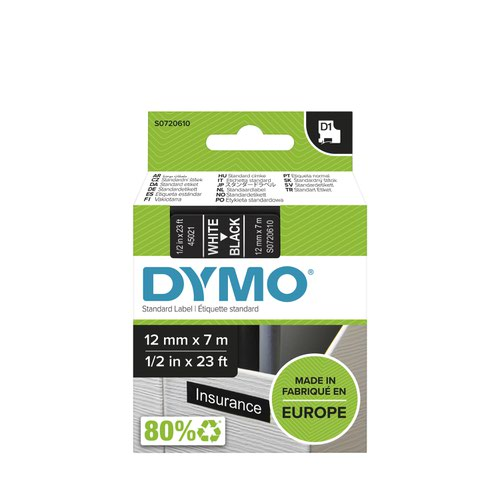 Dymo 45021 D1 12mm x 7m White on Black Tape