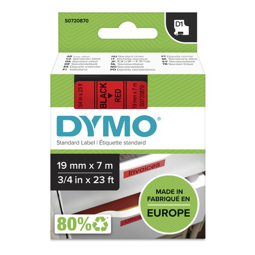 Dymo 45807 19mm x 7m Black on Red Tape