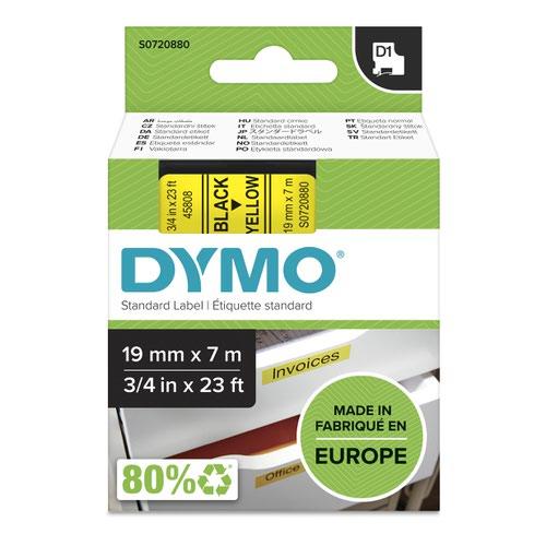 Dymo 45808 19mm x 7m Black on Yellow Tape