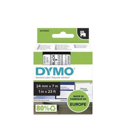 Dymo 53710 24mm x 7m Black on Clear Tape