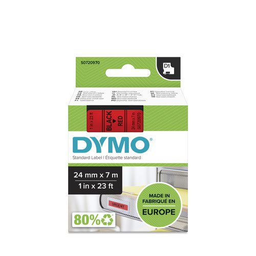 Dymo 53717 24mm x 7m Black on Red Tape