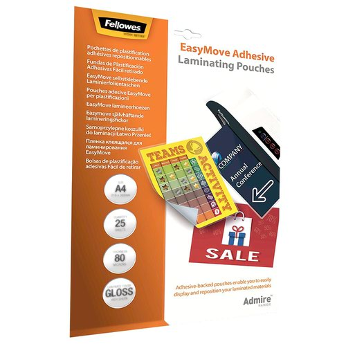 Fellowes 5601701 Admire A4 80Mic EasyDisplay Adhesive Backed Pouch 25pk