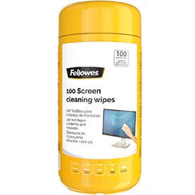 Fellowes 99703 Screen Cleaning Wipes Tub of 100