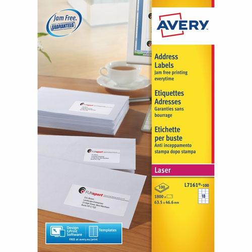 Avery L7161-100 Address Labels 100 sheets - 18 Labels per Sheet