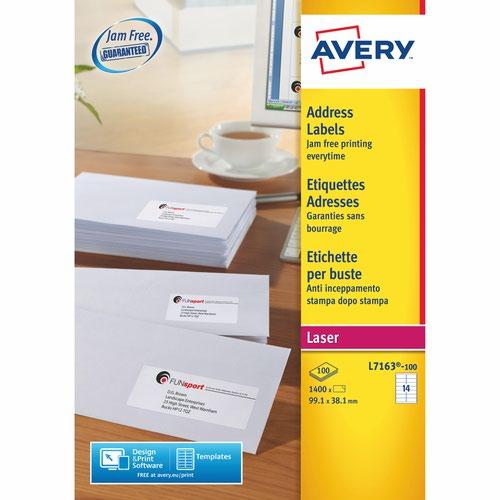 Avery L7163-100 Address Labels 100 sheets - 14 Labels per Sheet