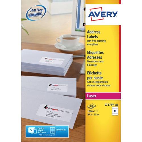 Avery L7173-100 Address Labels 100 sheets - 10 Labels per Sheet