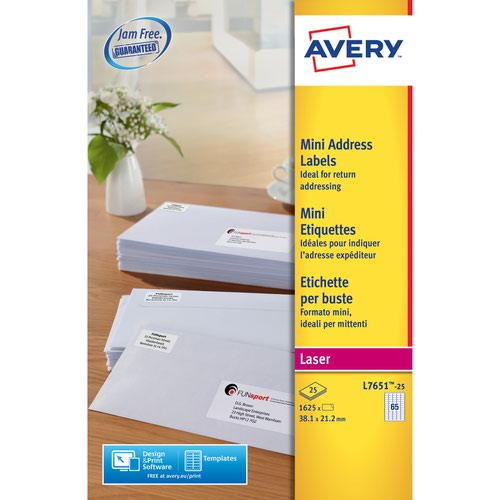 Avery L7651-25 Mini Address Labels 25 sheets - 65 Labels per Sheet