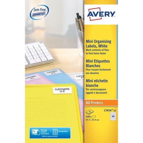 Avery L7654-25 Mini Multipurpose Labels 25 sheets - 40 Labels per Sheet