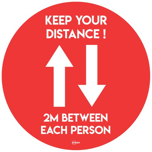 Avery Round COVID-19 Pre-Printed 2m Keep Distance Floor Sticker