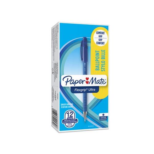 Paper Mate S0190153 Flexgrip Ultra Capped Ball Pen 1mm Blue Ink Box of 12