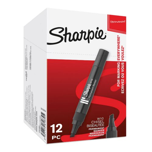 Sharpie S0192654 W10 Permanent Marker Chisel Tip Black Box of 12