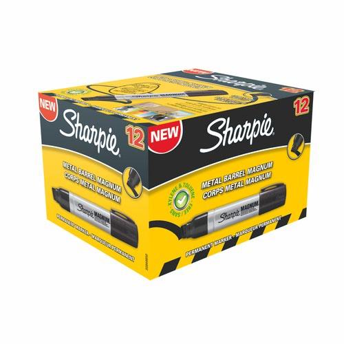 Sharpie S0949850 Metal Barrel Magnum large Chisel Black Pack of 12