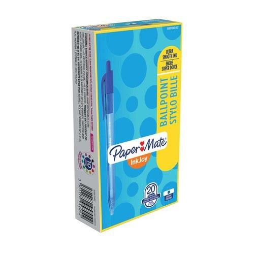 Paper Mate S0957040 Inkjoy 100 Retractable Pen 1mm Medium Tip Blue Box of 20