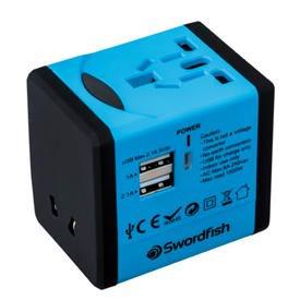 Swordfish VariPlug Dual USB Universal Travel Adapter Blue