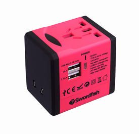 Swordfish VariPlug Dual USB Universal Travel Adapter Pink