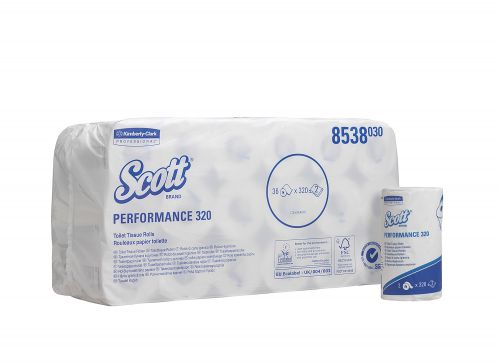 Scott Performance Toilet Roll  320 Sheets 2-ply 120x94mm White Ref 8538 [Pack 36]