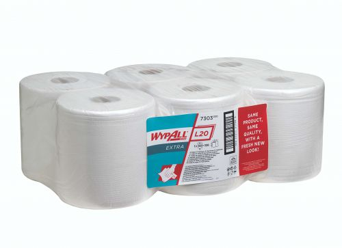Wypall L20 Wiper Centrefeed Roll White (Pack of 6) 7303 Cleaning Cloths KC00426