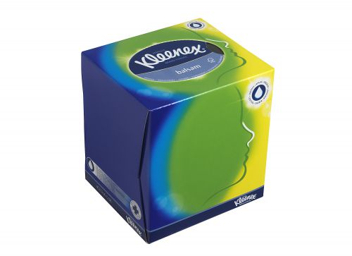 Kleenex Balsam Facial Tissues Cube 3 Ply White Protective Balm 56 Sheets Ref 8825 [Pack 12]