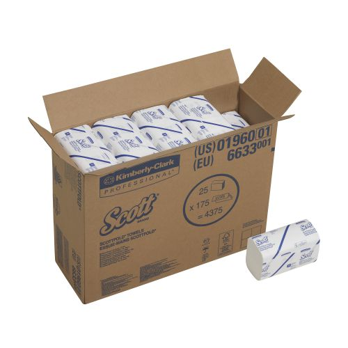 Scott 1-Ply M-Fold Hand Towels 175 Sheets (Pack of 25) 6633 KC01114