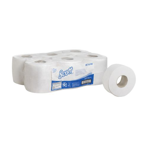 Scott Mini Jumbo Toilet Rolls 500 Sheets per roll 2-ply 400x90mm White Ref 8614 [Pack 12]