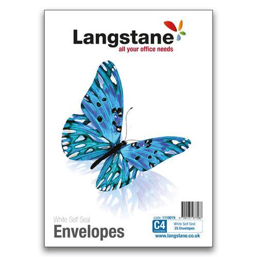 Langstane Small Pack Envelopes C4 White 90gsm Self Seal [Pack 25]