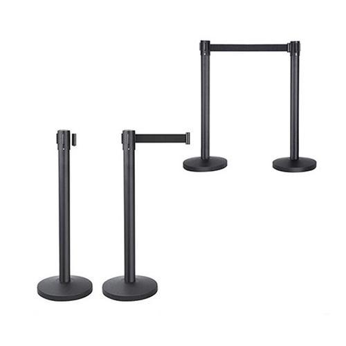 Belt Barrier Retractable (Black Post Base & Webbing) 2m Length