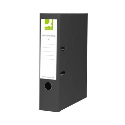 Q-Connect Polypropylene 70mm Black  Lever Arch Foolscap File (Pack of 10)