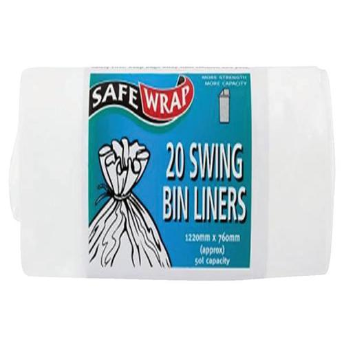 Robinson Young Safewrap Swing Bin Liners 1220x760mm White 20 Sacks Per Roll  [4 Rolls] 0441