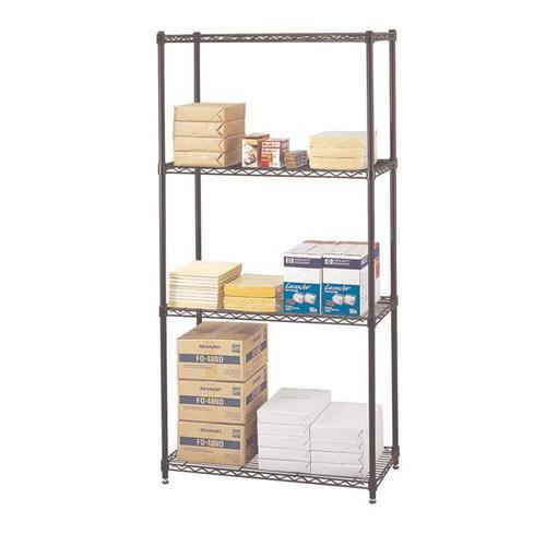 Safco Commercial Wire Shelving 4 Shelf Starter Unit 914x457x1829mm Black 5276BL