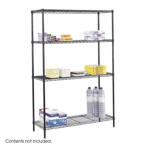 Safco Commercial Wire Shelving 4 Shelf Starter Unit 1219x457x1829mm Black 5241BL
