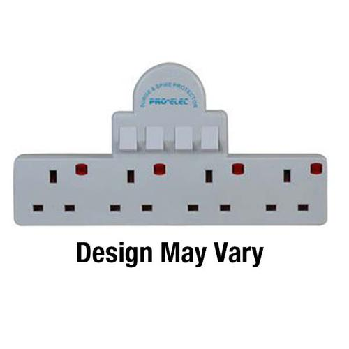 1 In 4 Surge Protection Adaptor Individually Switched White 2348