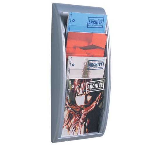 Fast Paper Quick Fit Wall Literature Holder 4 x A4 Pockets Silver 4061.35