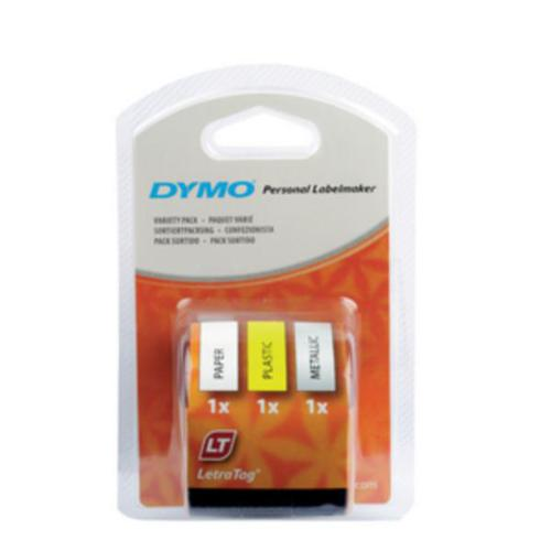 Dymo LetraTag Plastic Tape Black on White/Yellow/Silver 12mm x4m [Pack 3] S0721790