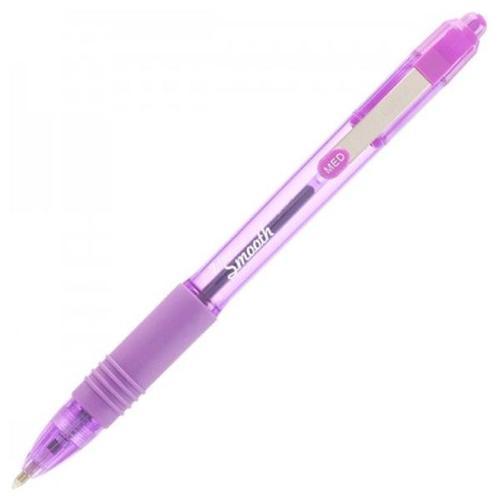 Langstane Z-Grip Smooth Medium Point Retractable Ball Pen Violet 22568 [Box 12]