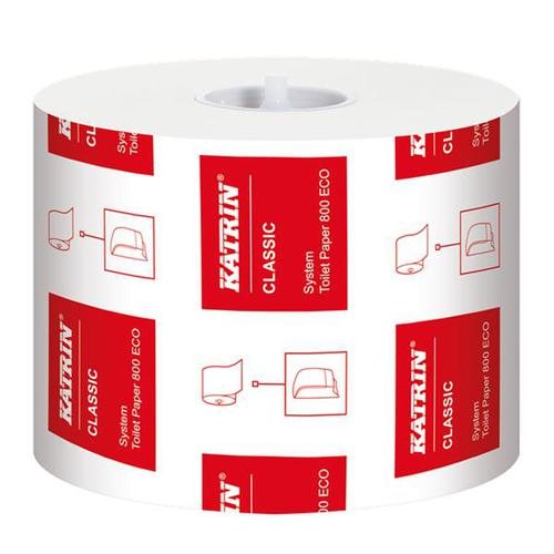 Katrin CLASSIC System 800 ECO Toilet Rolls White 2-Ply 100x92mm 103424 [Pack 36]