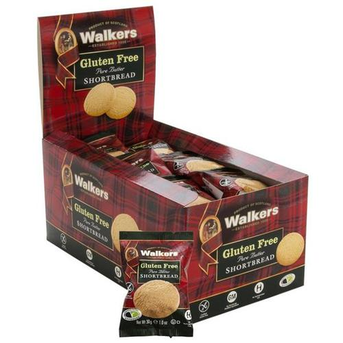 Walkers Gluten Free Shortbread Rounds 1023d 30g [24 Packs of 2]