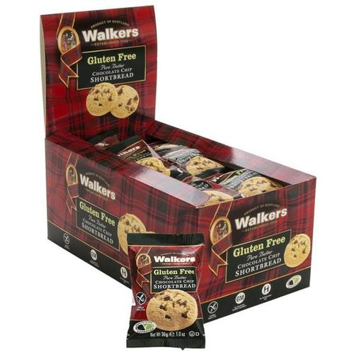 Walkers Gluten Free Chocolate Chip Shortbread 1024d 30g [24 packs of 2]