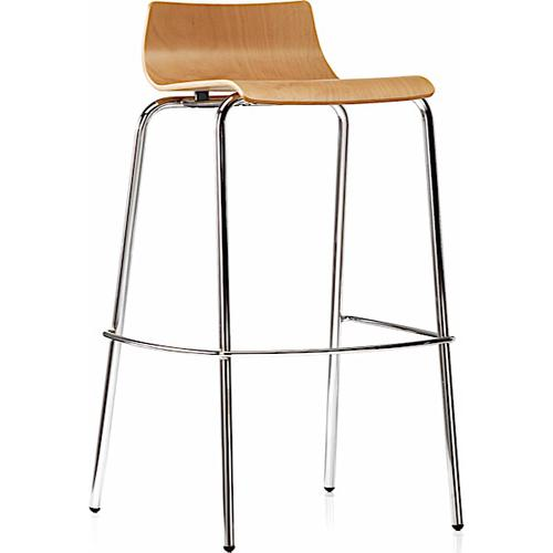 Bjorn Wood Shell High Stool with Beech Stain & Chrome 4 Leg Frame (BJN51)