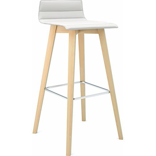 Bjorn Upholstered High Stool with Ribbed Upholstery & 4 Leg Wooden Frame - Phoenix Havana (BJN64)