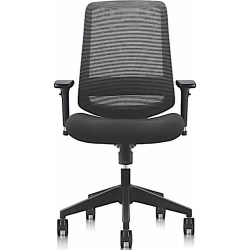 C19 Ergonomic Mesh Back Task Chair with HA Arms, Lumbar Support & Fabric Seat - Black Finish (C19)